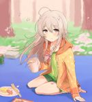 1girl a_ichi ahoge arm_support bangs bare_legs blush bow braid brick brown_eyes cherry_blossoms chopsticks cup day drink flat_chest food forest full_body grass green_shirt green_shorts grey_hair hair_bow holding holding_cup hood hood_down hoodie hoshi_shouko idolmaster idolmaster_cinderella_girls light_smile looking_at_viewer nature no_shoes orange_hoodie outdoors paper_plate petals picnic plate polka_dot_hoodie seiza shirt short_eyebrows short_shorts shorts side_braid single_braid sitting socks solo striped striped_legwear tako-san_wiener tree wind