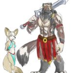 acev african_wild_dog anthro bdsm bondage bound canid canine canis clothed clothing colored digital_media_(artwork) dress esther felid female fennec fox hybrid lion male male/female mammal melee_weapon pantherine rope shomari size_difference slave sword weapon wolf