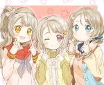 3girls blue_eyes color_connection hacosumi hair_color_connection highres light_brown_hair love_live! love_live!_school_idol_festival love_live!_school_idol_festival_all_stars love_live!_school_idol_project love_live!_sunshine!! minami_kotori multiple_girls nakasu_kasumi one_eye_closed perfect_dream_project pose purple_eyes school_uniform watanabe_you yellow_eyes