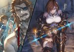 2boys 2girls ahoge apollonia_vaar armored_boots beard blue_hair boots breasts breasts_apart bridal_gauntlets brown_eyes brown_hair candle character_name collarbone covering_mouth eyepatch facial_hair gran_(granblue_fantasy) granblue_fantasy green_eyes hair_between_eyes hair_over_one_eye hand_over_own_mouth highres large_breasts long_hair looking_at_viewer minaba_hideo multiple_boys multiple_girls mustache novel_illustration official_art open_mouth restrained shirt shoulder_armor spaulders split_screen thighhighs torn_clothes torn_legwear very_long_hair white_legwear white_shirt