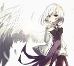 1girl bangs beckzawachi black_bow black_neckwear bow closed_mouth dress eyebrows_visible_through_hair feathered_wings feathers hand_up jacket kishin_sagume long_sleeves open_clothes open_jacket pink_eyes purple_dress short_hair single_wing solo touhou white_background white_hair white_jacket white_wings wings