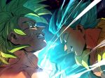 2boys battle blue_eyes blue_hair broly_(dragon_ball_super) dirty dirty_face dragon_ball dragon_ball_super_broly energy_ball face-to-face fighting_stance fingernails frown gogeta green_eyes green_hair grin incoming_attack incoming_punch male_focus multiple_boys profile serious short_hair smile spiked_hair super_saiyan super_saiyan_blue tako_jirou teeth