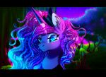 2018 black_bars blue_eyes cosmic_hair digital_media_(artwork) equine female feral friendship_is_magic horn mammal my_little_pony plaguedogs123 princess_luna_(mlp) sky solo star starry_sky unicorn
