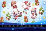 animal_ears bismarck_(kancolle) calendar carnelian chibi christmas dress graf_zeppelin_(kancolle) horns kantai_collection pantyhose prinz_eugen_(kancolle) thighhighs u-511