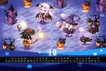 calendar carnelian chibi dress halloween horns kantai_collection northern_ocean_hime pantyhose seaport_hime sendai_(kancolle) thighhighs wings witch