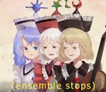 3girls blonde_hair blue_eyes blue_hair buttons crescent dated disgust english_text frills frown glaring hat instrument lunasa_prismriver lyrica_prismriver meme merlin_prismriver multiple_girls open_mouth red_eyes riki6 signature simple_background star teeth touhou violin white_hair yellow_eyes