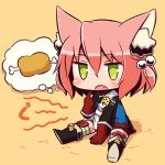 1girl 7th_dragon 7th_dragon_(series) :o animal_ear_fluff animal_ears bangs belt belt_buckle between_legs black_footwear blue_jacket blush boned_meat boots buckle cat_ears chibi commentary_request eyebrows_visible_through_hair fang food full_body gloves green_eyes hair_between_eyes hair_bobbles hair_ornament hand_between_legs harukara_(7th_dragon) jacket knee_boots long_sleeves meat naga_u one_side_up open_mouth orange_background pink_hair red_gloves shadow shoe_soles sitting solo striped striped_legwear thighhighs thighhighs_under_boots white_belt