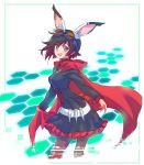 1girl animal_ears bandolier belt black_dress black_hair black_legwear cameron_maccloud cape cloak corset cross crossover dress frilled_dress frills gen_lock goggles goggles_on_head gradient_hair highres hood hooded_cloak iesupa long_sleeves multicolored_hair pantyhose red_cape red_hair ruby_rose rwby short_hair silver_eyes solo two-tone_hair