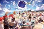 6+boys 6+girls absurdres ahoge alternate_costume amakusa_shirou_(fate) animal_ears anne_bonny_(fate/grand_order) apron archer artoria_pendragon_(all) artoria_pendragon_(lancer) artoria_pendragon_(lancer_alter) beach bedivere bikini black_dress black_gloves blanket blonde_hair blue_eyes boudica_(fate/grand_order) bow braid breasts caster_(fate/zero) character_request cloud cross dark_skin dark_skinned_male dragging dress edmond_dantes_(fate/grand_order) edward_teach_(fate/grand_order) fate/grand_order fate_(series) first_aid_kit flag florence_nightingale_(fate/grand_order) food fou_(fate/grand_order) fox_ears fox_tail francis_drake_(fate) frankenstein's_monster_(fate) fujimaru_ritsuka_(female) fujimaru_ritsuka_(male) gawain_(fate/extra) glasses gloves green-hat green_eyes grill grilling hair_between_eyes hair_bun hair_ornament hair_over_one_eye hair_ribbon hair_scrunchie hamburger hassan_of_serenity_(fate) hat hiding highres horns innertube jack_the_ripper_(fate/apocrypha) jeanne_d'arc_(alter)_(fate) jeanne_d'arc_(fate) jeanne_d'arc_(fate)_(all) jeanne_d'arc_alter_santa_lily jewelry kiyohime lancelot_(fate/grand_order) leonardo_da_vinci_(fate/grand_order) long_hair long_sleeves maid_dress maid_headdress mary_read_(fate/grand_order) mash_kyrielight meat minamoto_no_raikou_(fate/grand_order) mordred_(fate) mordred_(fate)_(all) multiple_boys multiple_girls multiple_persona mysterious_heroine_x necklace nursery_rhyme_(fate/extra) ocean oda_nobunaga_(fate) okita_souji_(fate) okita_souji_(fate)_(all) open_mouth orange_eyes orange_hair outdoors paw_gloves paws pink_hair pirate_hat plate pointing ponytail purple_eyes purple_hair raft red_hair red_ribbon ribbon romani_archaman saber saber_alter saber_lily sandals scrunchie shore short_hair shorts side_ponytail silver_hair sitting sky smile swimming swimsuit table tail tamamo_(fate)_(all) tamamo_cat_(fate) too_many trench_coat tristan_(fate/grand_order) twin_braids twintails user_hwvm7837 v very_long_hair water waving white_hair yellow_eyes