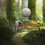 2019 anthro bench biped blue_bottomwear blue_clothing blue_mane blue_shorts clothed clothing detailed_background digital_media_(artwork) digital_painting_(artwork) donkey equine flower garden grey_body grey_tail hi_res machine male mammal mane nomax outside plant robot shorts shrub sitting solo tail_tuft topless tuft