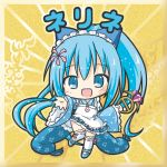 1girl :d apron bangs bikkuriman_(style) blue_eyes blue_footwear blue_hair blue_kimono blue_skirt character_name chibi eyebrows_visible_through_hair flower_knight_girl gem hair_between_eyes high_ponytail japanese_clothes kimono long_hair long_sleeves nerine_(flower_knight_girl) open_mouth over-kneehighs pleated_skirt ponytail ribbon-trimmed_legwear ribbon_trim rinechun shoes short_kimono skirt smile solo thighhighs very_long_hair white_apron white_legwear wide_sleeves