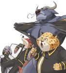 3boys :o alternate_costume animal bei_ju_luoxuan_wan benjamin_clawhauser black_jacket black_pants buffalo bunny carrot cheetah chief_bogo clenched_hands closed_mouth cosplay disney doughnut facepalm food fox furry gaijin_4koma gintama hand_on_own_face heavy_breathing hijikata_toushirou hijikata_toushirou_(cosplay) holding holding_food jacket judy_hopps kondou_isao kondou_isao_(cosplay) leaning_back long_sleeves mouth_hold multiple_boys nick_wilde okita_sougo okita_sougo_(cosplay) open_mouth pants shinsengumi_(gintama) shirt simple_background sitting sleep_mask torn_clothes torn_shirt white_background yamazaki_sagaru yamazaki_sagaru_(cosplay) zootopia