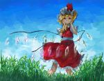 1girl blonde_hair blue_sky bright_pupils cloud contrapposto cowboy_shot cravat crystal dappled_sunlight day flandre_scarlet grin hair_between_eyes hands_on_own_face hat looking_at_viewer mob_cap outdoors petticoat psyren2 puffy_short_sleeves puffy_sleeves red_eyes red_skirt red_vest shirt short_hair short_sleeves side_ponytail skirt sky smile solo standing sunlight tall_grass teeth touhou vest white_pupils white_shirt wind wind_lift wings yellow_neckwear