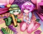 2girls adapted_costume alternate_costume blush board_game checkered chess chess_piece couch eyeball floral_print full_body green_eyes green_hair hat hat_ribbon heart heart_pillow kneeling komeiji_koishi komeiji_satori long_sleeves looking_at_viewer multiple_girls off_shoulder overalls pillow purple_eyes purple_hair ribbon saodake shirt short_hair siblings sisters sitting strap_slip string third_eye touhou