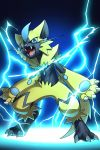 ambiguous_gender anthro blue_eyes claws electricity fangs feline fur hi_res katahane3 legendary_pokémon looking_at_viewer mammal nintendo open_mouth pawpads pokémon pokémon_(species) simple_background tongue video_games yellow_fur zeraora