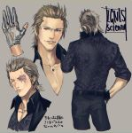 animal_print brown_hair character_name character_sheet final_fantasy final_fantasy_xv glasses gloves hair_slicked_back ignis_scientia leopard_print mad369 male_focus necktie older scar suit_jacket