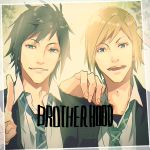 2boys black_hair blonde_hair final_fantasy final_fantasy_xv hand_on_shoulder mad369 male_focus multiple_boys necktie noctis_lucis_caelum photo_(object) prompto_argentum school_uniform teenage v younger