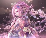 1girl banned_artist cherry_blossoms floral_print hair_ornament hairclip japanese_clothes kimono long_sleeves looking_at_viewer mana_kakkowarai obi original petals pink_eyes pink_hair ponytail sash smile solo twig upper_body wide_sleeves