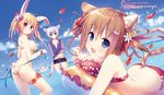 3girls animal_ears ass banned_artist bikini blonde_hair blue_eyes blue_hair bow breasts brown_eyes brown_hair bunny_ears bunny_tail butt_crack cat cat_tail dengeki_moeou fang flat_chest floral_print flower_bracelet hair_bow hair_ornament hair_ribbon hairclip highres innertube jewelry konomi_(kino_konomi) large_breasts looking_at_viewer multiple_girls necklace ocean open_mouth outdoors petals print_bikini red_bikini red_eyes ribbon scan short_hair short_twintails side-tie_bikini sideboob strap_gap swim_trunks swimsuit tail twintails untied untied_bikini wading