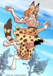 1girl :d animal_ear_fluff animal_ears bare_shoulders belt blonde_hair blue_sky claws commentary day english_commentary extra_ears fang full_body fur high-waist_skirt highres jumping kemono_friends kukuruyo looking_away monster_girl open_mouth orange_eyes outdoors paws print_legwear print_neckwear print_skirt serval_(kemono_friends) serval_ears serval_print serval_tail shirt short_hair signature skirt sky smile solo tail thighhighs tree watermark web_address white_shirt