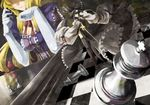 2girls 9ji 9ji_(pixiv) bad_id blonde_hair board_game chess elbow_gloves female gloves hakurei_reimu long_hair meimu multiple_girls rapier smile sword touhou weapon yakumo_yukari