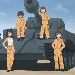 4girls :d akagi_(fmttps) arm_support bangs black_footwear blue_eyes blue_sky brown_eyes brown_hair closed_mouth clothes_around_waist cloud cloudy_sky commentary_request dark_skin day emblem eyebrows_visible_through_hair eyes_closed freckles girls_und_panzer gloves green_eyes ground_vehicle hand_on_hip hands_on_hips hoshino_(girls_und_panzer) jumpsuit leopon_(animal) light_smile long_sleeves looking_at_viewer mechanic military military_vehicle motor_vehicle multiple_girls nakajima_(girls_und_panzer) open_mouth orange_jumpsuit shadow shirt shoes short_hair sitting sky smile standing suzuki_(girls_und_panzer) tank tank_top tied_shirt tiger_(p) tsuchiya_(girls_und_panzer) twitter_username uniform white_gloves white_shirt