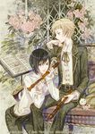 2boys artist_name banned_artist black_hair flower instrument male_focus midori_fuu multiple_boys original petals recorder sheet_music short_hair sitting