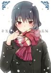 1girl black_hair blush coat kirihara_izumi long_hair looking_at_viewer red_eyes sawashiro_yoru scarf snowing solo sore_wa