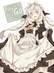 1girl :d absurdres alternate_costume apron blue_eyes drill_hair enmaided fate/grand_order fate_(series) highres long_hair maid maid_apron maid_headdress marie_antoinette_(fate/grand_order) narumiya_(empty_cafe) open_mouth silver_hair smile solo