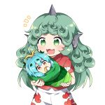 2girls :3 :d antennae arms_up baby blue_hair caramell0501 commentary cowboy_shot curly_hair eternity_larva green_eyes green_hair holding_baby horn kariyushi_shirt komano_aun leaf leaf_on_head long_hair looking_at_viewer mouth_hold multiple_girls notice_lines open_mouth pacifier short_hair short_sleeves shorts simple_background smile touhou very_long_hair white_background wrapped_up yellow_eyes younger