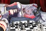 1girl :d absurdres board_game bow bowtie breasts caro_(shironeko_project) chess chess_piece chessboard earrings elbow_gloves fangs foreshortening gloves hair_ribbon half-closed_eyes heart highres holding jewelry long_hair lying multicolored_hair navel on_side open_mouth purple_eyes purple_hair ravejaeger ribbon shironeko_project shorts silver_hair smile solo thighhighs twintails two-tone_hair