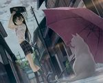 absurdres alley arms_up bag bag_on_head black_hair black_legwear blue_eyes blush bra building cat city hair_ornament hairclip highres huge_filesize kantoku kneehighs loafers long_hair original outdoors pink_bra pins plaid plaid_skirt pleated_skirt rain scan scenery school_bag school_uniform see-through shoes skirt sky smile solo standing umbrella underwear wet wet_clothes