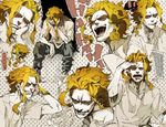 ... 1boy all_might bangs blonde_hair blue_eyes boku_no_hero_academia dust facepalm hand_on_own_cheek hand_on_own_chest highres karo_(tocoda965) laughing male_focus messy_hair multiple_views open_mouth shirt sitting sleeping spoken_ellipsis surprised teeth white_shirt