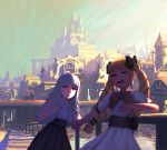 2girls alternate_costume black_bow blonde_hair bow castle day dress elise_(fire_emblem_if) eyes_closed fakewaffle fire_emblem fire_emblem_heroes fire_emblem_if grey_hair hair_bow hand_holding long_hair multicolored_hair multiple_girls nintendo open_mouth outdoors pink_bow purple_hair red_eyes short_sleeves sky twintails veronica_(fire_emblem)