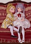 2girls animal_ears arm_hug artist_name bangs black_footwear black_legwear blonde_hair blush bow bowtie brooch cat_ears chinese_commentary commentary_request couch dress earrings eyebrows_visible_through_hair fkey full_body gloves grey_background grey_eyes hand_print head_tilt highres jacket jewelry long_hair long_sleeves looking_at_viewer mary_janes multiple_girls original pantyhose ponytail puffy_short_sleeves puffy_sleeves red_bow red_eyes red_neckwear shoes short_sleeves sidelocks signature silver_hair simple_background skull twintails white_dress white_footwear white_gloves white_legwear yellow_jacket
