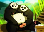 anthro balls bear duo father father_and_son handjob humanoid_penis incest kung_fu_panda li_shan male male/male mammal mazemore overweight panda parent penis po son