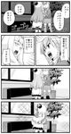 2girls 4koma ascot bangs blazer comic commentary_request dress hair_ornament hairclip hikawa79 hug indoors jacket kantai_collection long_hair long_sleeves lycoris_hime monochrome multiple_girls o_o open_mouth plant shinkaisei-kan skirt sparkle suzuya_(kantai_collection) thighhighs translation_request
