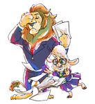 dawn_bellwether disney facepalm furry glasses green_eyes jewelry lamb lion mayor_lionheart necklace paper suit zootopia