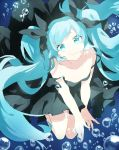 1girl air_bubble bare_arms bare_shoulders black_dress black_ribbon blue_eyes blue_hair bubble dress enma614_(patidonn) fingernails floating floating_hair full_body hair_ribbon happy hatsune_miku head_tilt long_hair looking_at_viewer no_bra outstretched_arms ribbon shinkai_shoujo_(vocaloid) smile solo submerged twintails underwater very_long_hair vocaloid