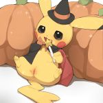 1girl :3 anus black_cape black_eyes black_hat black_sclera blush blush_stickers bow bowtie cape clitoris clothed_pokemon creatures_(company) female full_body game_freak gen_1_pokemon hands_up happy hat highres holding looking_at_viewer nintendo no_humans open_mouth orange_neckwear pikachu pokemon pokemon_(creature) pumpkin pussy sitting smile solo sparkle spread_legs star uncensored wand witch_hat youjomodoki