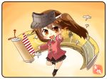 1girl artist_name brown_eyes brown_hair brown_skirt chibi flight_deck full_body gradient gradient_background japanese_clothes kantai_collection kariginu looking_at_viewer magatama pleated_skirt pose red_skirt ryuujou_(kantai_collection) scroll shikigami skirt solo standing standing_on_one_leg taisa_(kari) twintails visor_cap yellow_background
