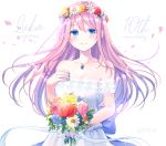 1girl anniversary bangs bare_shoulders blue_eyes blue_flower blue_nails blush bouquet breasts cleavage closed_mouth collarbone commentary_request crying dated dress eyebrows_visible_through_hair fingernails flower flower_wreath hair_between_eyes head_wreath holding holding_bouquet jewelry kashiwabara_en long_hair medium_breasts megurine_luka nail_polish pendant pink_flower pink_hair pink_rose red_flower rose simple_background smile solo strapless strapless_dress tears very_long_hair vocaloid white_background white_dress white_flower yellow_flower yellow_rose