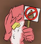 2016 anthro avian avian_(starbound) beak digital_media_(artwork) disappointed eyes_closed facepalm feathers feces frown looking_at_viewer maladash male no_shit red_feathers scat sign simple_background starbound sweat tatsuchan18 video_games white_feathers