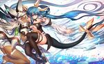 2girls absurdly_long_hair arm_belt ass asymmetrical_wings back bangs bare_shoulders beltbra black_legwear black_wings blue_hair blush boots bow breasts cape choker cleavage closed_mouth clover colored_eyelashes dark_skin detached_sleeves dizzy floating_hair four-leaf_clover guilty_gear hair_between_eyes hair_ribbon hand_on_another's_thigh hand_on_another's_thigh hat hat_leaf large_breasts leaning_forward leaning_on_person long_hair looking_at_viewer multiple_girls no_shoes oro_(sumakaita) outstretched_arm pauldrons ramlethal_valentine red_eyes ribbon shade short_shorts shorts smile spikes tail tail_bow tail_ribbon thigh_strap thighhighs underboob very_long_hair white_boots white_hair white_shorts white_wings wings yellow_ribbon