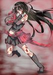1girl akame akame_ga_kill! bare_shoulders black_gloves black_hair black_legwear black_shirt black_skirt blood bruise full_body gloves highres injury katana long_hair looking_at_viewer red_eyes saisarisu shaded_face shirt skirt sleeveless sleeveless_shirt socks solo sword vambraces weapon