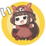 1girl animal_hat bangs blunt_bangs brown_eyes brown_hair chinese_zodiac double_bun grey_eyes hat kantai_collection kongou_(kantai_collection) long_hair lowres open_mouth outstretched_arm pig_costume puchimasu! sidelocks simple_background smile translation_request yuureidoushi_(yuurei6214)