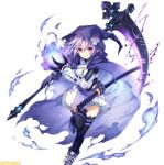 1girl blue_fire chains cloak compile_heart d-pad d-pad_hair_ornament electricity fire flame fusion gauntlets gloves hair_ornament hiro_(spectral_force) hirotune hood idea_factory katana mega_miracle_force neptune_(choujigen_game_neptune) neptune_(series) official_art purple_hair red_eyes shoes skirt skull smile sneakers spectral_(series) spectral_force sword thighhighs weapon zettai_ryouiki