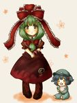 2girls =_= arm_ribbon baby bib blue_hair blush boots cabbie_hat cucumber floral_background frilled_ribbon frills full_body green_eyes green_hair hair_ribbon hands_together hat kagiyama_hina kawashiro_nitori long_hair looking_at_viewer maroon_dress multiple_girls pacifier pajamas ribbon short_eyebrows short_hair short_sleeves sitting standing tikano touhou two_side_up younger