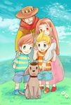 1girl 3boys blonde_hair blue_eyes boney brown_eyes brown_hair claus collar conazatou cowboy_hat dog dog_collar family flint flower green_eyes hat hinawa lucas mother_(game) mother_3 multiple_boys orange_hair shirt striped striped_shirt