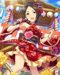 1girl alternate_costume artist_request black_hair bracelet brown_eyes detached_sleeves flower hair_flower hair_ornament idolmaster idolmaster_cinderella_girls japanese_clothes jewelry microphone official_art short_hair smile solo tougou_ai tree